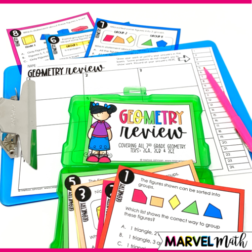 3rd Grade Geometry STAAR Math Review Task Cards