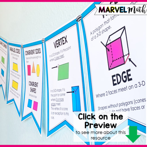 3rd Grade Geometry Bunting for your Math Word Wall