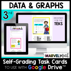 3rd Grade Distance Learning Google Classroom Self-Grading Task Cards Bar Graphs, Pictographs, and Dot Plots Texas TEKS