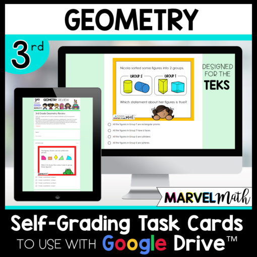 3rd Grade Google Classroom Geometry Review TEKS Self-Grading Task Cards