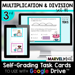 3rd Grade Distance Learning Google Classroom Self-Grading Task Cards Multiplication and Division