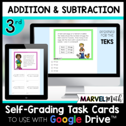 3rd Grade Distance Learning Google Classroom Self-Grading Task Cards Addition Subtraction Money