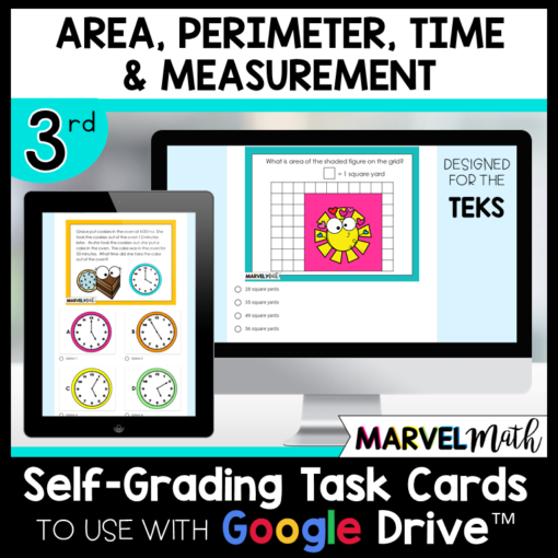 3rd Grade Distance Learning Google Classroom Self-Grading Task Cards Area, Perimeter, Time and Measurement