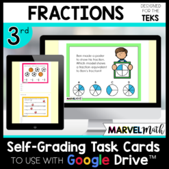 3rd Grade Distance Learning Google Classroom Self-Grading Task Cards Fractions Texas TEKS