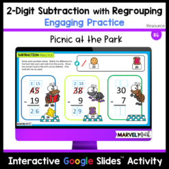 FUN 2-Digit Subtraction with Regrouping Practice for Google Slides