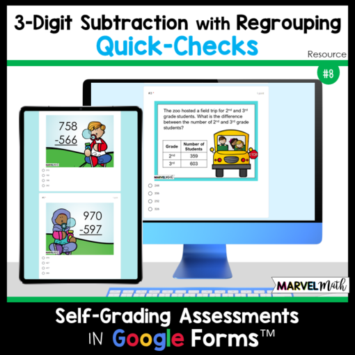 3-Digit Subtraction with Regrouping Quick Checks - Exit Tickets