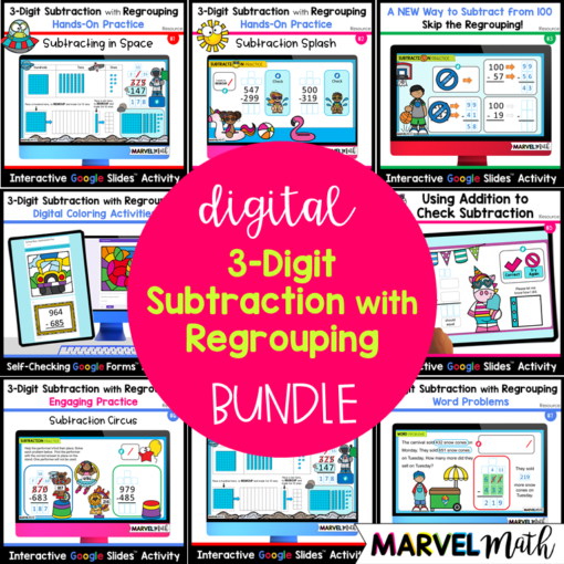 3-Digit Subtraction with Regrouping Digital Activities