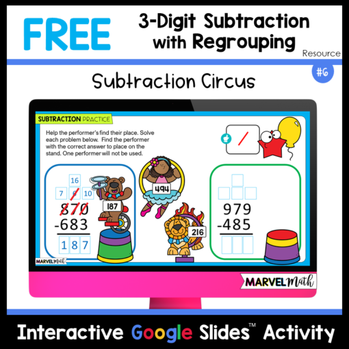 3 Digit Subtraction with Regrouping Free