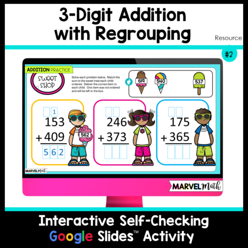 3 Digit Addition with Regrouping Google Slides