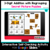 3 Digit Addition with Regrouping Self Checking Practice, Secret Picture Puzzles