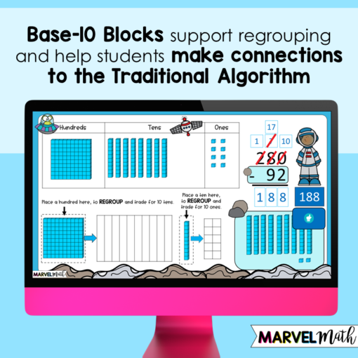3 Digit Subtraction with Regrouping with Base 10 Blocks