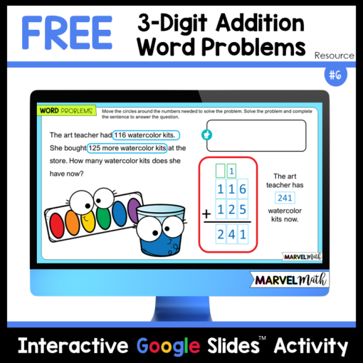 Free 3 Digit Addition with Regrouping Practice Google Slides