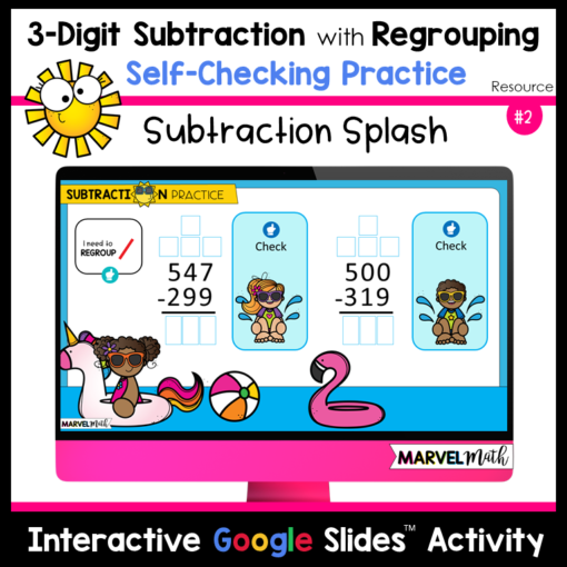 3-Digit Subtraction with Regrouping Self-checking practice