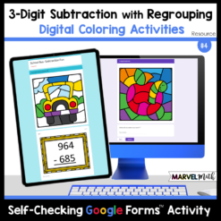 3-Digit Subtraction with Regrouping Digital Color by Code