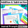 Addition and Subtraction Math Journal Prompts for Writing in Math Class