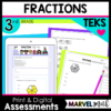 3rd Grade Fractions Tests for TEKS and new STAAR Question Types