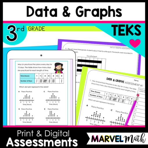 Pictographs, dot plots, bar graphs and frequency Table Tests for STAAR Review