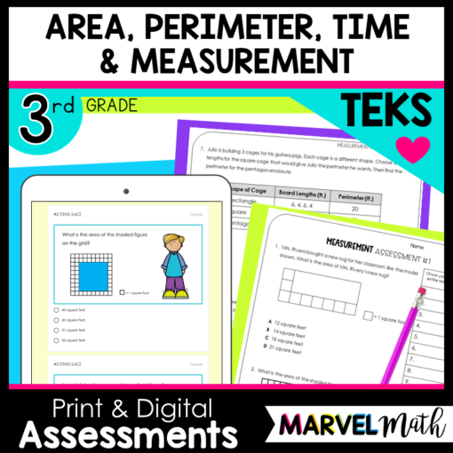 3rd Area, Perimeter, Elapsed Time and Measurement TEKS Tests and STAAR Review with New STAAR question types